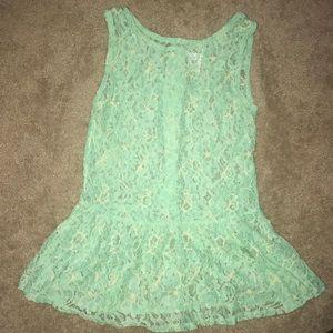 Tobi sheer lace mint green top